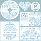 Winter wedding template set.Snowflakes circle