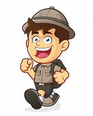 pic of boy scout  - Vector clipart picture of a Boy Scout or Explorer Boy cartoon character Walking - JPG