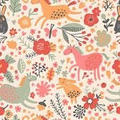 Funny horses with rabbits on flower meadow. Cute cartoon seamless pattern in vector