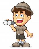 pic of boy scout  - Vector clipart picture of a Boy Scout or Explorer Boy cartoon character with Binoculars - JPG
