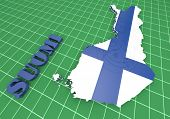 Map Illustratin Of Finland With Flag