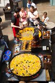 Paella in Covent Garden market, one of the main tourist attractions in London