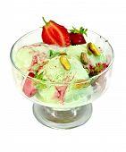 Ice cream strawberry-pistachio