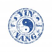 pic of yin  - Blue grunge rubber stamp with the yin and yang taoistic symbol of balance - JPG