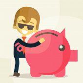 Business man  save money