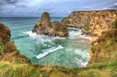 Whipsiderry beach and cove near Trevelgue Head Newquay Cornwall England UK with waves and cliffs in