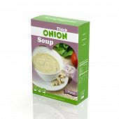3D onion soup paper package isolated on white