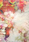 Abstract floral background- watercolor background on grunge paper texture