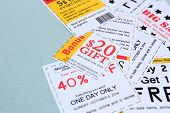 Set of cut coupons for shopping to save money