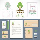 Speech Bubble Tree Logo and Identity Template