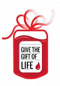 A blood donation bag with tube shaped as a gift bow and the slogan: Give the Gift of Live. EPS10 vector format