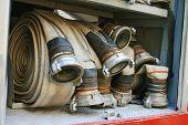 fire hoses equipment in firetruck