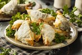 foto of greeks  - Homemade Greek Spanakopita Pastry with Feta and Spinach - JPG