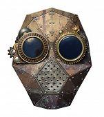 Steampunk metal robot head.