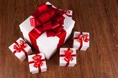One Large White Gift Box And White Gift Boxes Top View