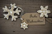 Ginger Bread Stars With Frohe Weihnachten Banner