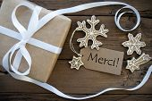 Christmas Decoration Background With Merci Tag