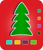 Modern Christmas Tree on red background with empty buttons , eps10 vector illustration