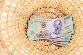 Vietnamese Money, Dong Backnote  Inside Hat