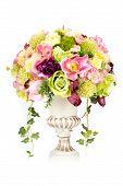 Decoration Artificial Plastic Flower With Vintage Design Vase