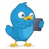 Blue Bird Holding Tablet PC