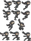 Cartoon ninja ready for animation. Vector clip art illustration with simple gradients. Each on a separate layer.