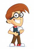 pic of dork  - Clipart Picture of a Nerd Geek Cartoon Character Holding a Magnifying Glass - JPG