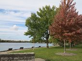 Start of Fall at McHenry Dam on the Fox River in Illinois