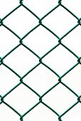 Green Wire Fence Isolated On White Background, Vertical Pattern