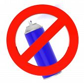 picture of spray can  - Blue Spray Can with prohibition sign on a white background - JPG