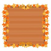 Wooden Frame With Autumn Leaves Vector