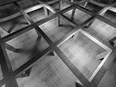 Abstract Industrial Empty 3D Concrete Interior