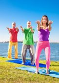 stock photo of suny  - Tree people practice Yoga asana at lakeside on suny day - JPG