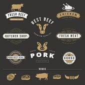 pic of logo  - Grill BBQ Cow PIG Retro Vintage Labels Logo design vector typography lettering templates. 