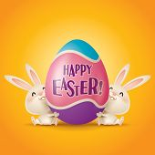 image of easter eggs bunny  - Happy Easter - JPG