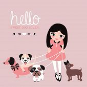 stock photo of labradors  - Hello dog lovers postcard little girl in dress walking her pug puppy dachshund and labrador illustration wall decor art for kids paper print design - JPG