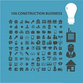 stock photo of skid-steer  - 100 construction business isolated icons - JPG