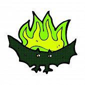 image of vampire bat  - retro comic book style cartoon spooky vampire bat - JPG