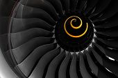 image of rotor plane  - Fan blade of aircraft jet engine in close up - JPG