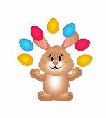 picture of juggling  - Cute illustration of easter rabbit juggling with easter eggs - JPG