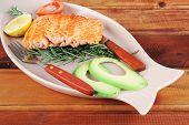 image of plate fish food  - served fish - JPG