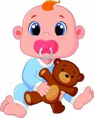foto of pacifier  - Vector illustration of Cartoon Baby Boy With Pacifiers and Toys - JPG