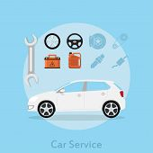 picture of car symbol  - picture of a car with icons of wheel stearing wheel car battery oil can wrench and other flat style illustration car sevice concept - JPG