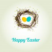 stock photo of bird-nest  - Easter card with two cute birds egg in the nest - JPG