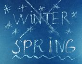 picture of goodbye  - Goodbye Winter hello Spring written on board - JPG