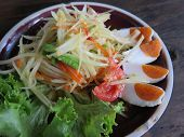 pic of green papaya salad  - closed up papaya salad with salted egg - JPG