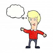 pic of sticking out tongue  - cartoon man sticking out tongue with thought bubble - JPG