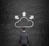 picture of wall cloud  - businessman looking at drawing cloud with arrow on wall - JPG