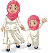 pic of muslim  - Woman and a girl muslims holding hands - JPG