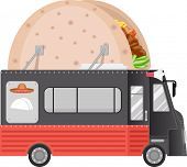 stock photo of food truck  - Illustration of a Food Truck With a Taco Installation on its Roof - JPG